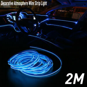 Cool BLUE LED Car Interior Decor Atmosphere Wire Strip Light Lamps Accessory EOA