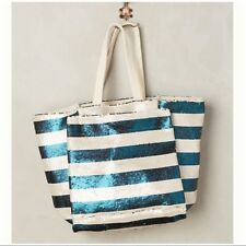 NEW Anthropologie Blue Sequin Striped Glimmer Tote Bag Large