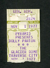 Original 1977 Dolly Parton Concert Ticket Stub Glacier Dome MI Jolene 9 to 5