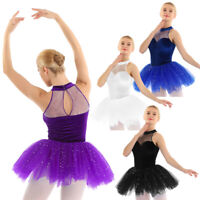Women Ballet Dance Dress Velvet Sequins Tulle Tutu Skirt Leotard Dancing Costume