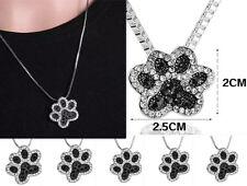 Crystal Rhinestone Silver Necklace Jewellery Pendant Dog Paw Footprint Fashion