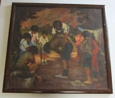 LARGE ANTIQUE SPANISH LISTED ARTIST PAINTING IMPRESSIONISM MODERNISM 44 INCHES