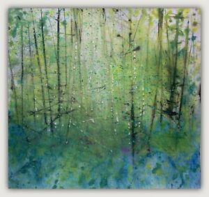 Semi Abstract Woodland, Trees / Landscape Art. Original Acrylic Painting.