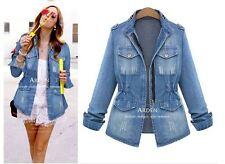 Spring autumn  women's jeans slim long denim jacket coat outerwear Windbreaker