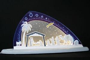 LED Schwibbogen modern Christi Geburt Krippe Handwerkskunst Erzgebirge