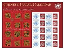 United Nations UN  2011 S40 Lunar Calendar Rabbit Personalized Sheet Stamps
