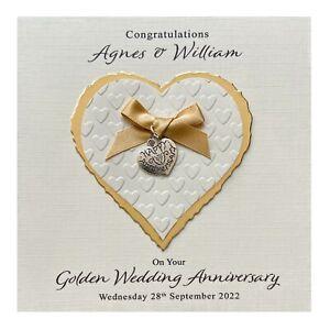 Handmade PERSONALISED Golden 50th Wedding Anniversary Card - Heart Charm