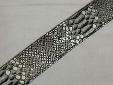 "PERRI'S 2"" faux Crocodile Alligator (Snake) texture Silver Leather GUITAR strap"