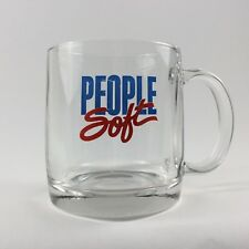 PeopleSoft COFFEE MUG Glass 90s PSFT logo HR Software HRMS ERP Pleasanton CA