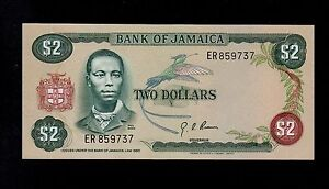 JAMAICA 2  DOLLARS  ( 1976 ) ER PICK # 60a  AU.