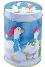 CHRISTMAS GEESE GOOSE IN SCARVES STORAGE TIN~CADDY EMMA BALL XMAS ~FREE PP UK