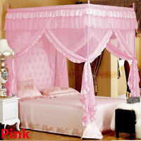 Mosquito Net Bed Canopy-lace Luxury 4 Corner Square Princess Fly Screen Indoor