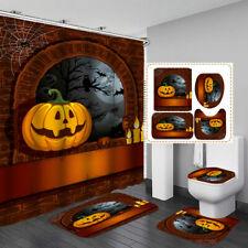 Halloween Pumpkin Shower Curtain Door Bath Mat Toilet Cover Rugs Bathroom Decor