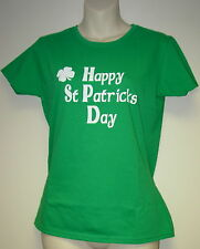 "Ladies T-Shirt ""Happy St Patricks Day"" Irish Green Ladyfit Shirt  Size 8-18"