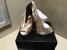 Boutique 9 Nickeya Peep Toe Mary Jane Platform Pump gold Glitter Heels 9.5 US