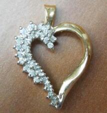 Herz Anhänger mit (0,25 ct.) Diamant 585 Gold 14k Gelbgold mit Weißgold Bicolor