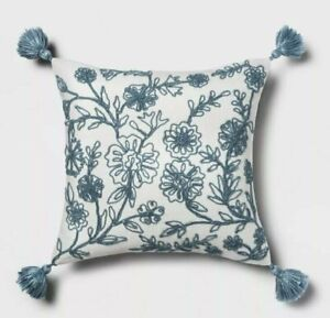 Threshold Blue Embroidered Floral Square Throw Pillow, New