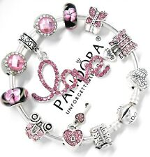 Authentic Pandora Bracelet Silver Bangle With Love Pink Heart European Charms...