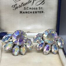 Vintage Art Deco Czech Crystal AB Aurora Borealis Clip Earrings - circa 1920