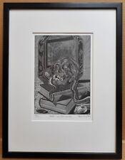 Human Skull & Snake - Death. Wood Engraving by listed artist Simon King 1980