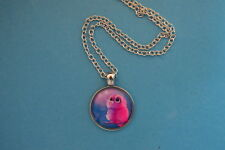 Cute Pink BABY OWL Cabochon PENDANT -  NECKLACE  New!  Jewelry USA SELLER!  bird