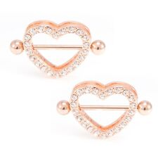 Pair of Heart Nipple Shield Ring 14G  Rose Gold I.P.  Barbell with CZ Gems