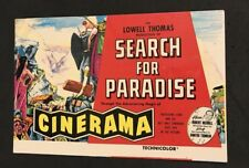 VTG 1960 Movie Post Card, Cinerama, Search For Paradise, Hollywood