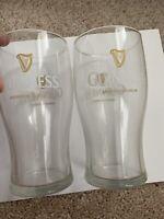 Guinness Gravity Glass. Original w/ Gold Harp 20oz Set of 2 Bar Mancave EUC