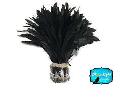 1/2 Yard - NATURAL BLACK Half Bronze Coque Tail Strung Wholesale feathers (bulk)