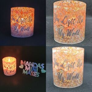 Personalised handmade Tealight Candle Holder - Any Wording -  Yankee included
