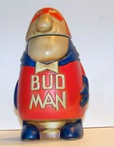 1975 CS-1 BUD MAN Beer Stein Ceramarte -  Rare Solid Head No Knot iBowtie - CS1