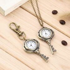 New Fashion Antique Retro Alloy Key Shaped Pendant Pocket Watch Key Chain JT