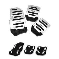 Aluminium Alloy Brake Cover Small Car Non Slip Pedal Foot Treadle Silver 3 Pcs