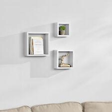 [en.casa] 3er Set Wandregal Hängeregal Bücherregal CD DVD Regal Cube Lounge Weiß