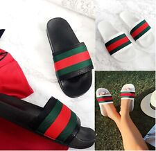LADIES BEACH SUMMER HOLIDAY COMFY DESIGNER STYLE STRIPE SLIDERS WOMEN SHOES SIZE