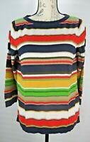 Talbots Womens Size L Multicolor Stripe Pullover Knit Top Ribbed Neckline 3/4 Sl