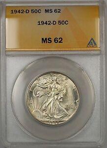 1942-D Walking Liberty Silver Half Dollar 50c ANACS MS 62 (Better Coin)