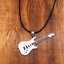 collar para Hombre moda acero inoxidable guitarra colgante de Cuero Regalo lujo