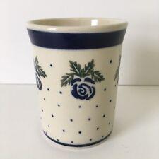 Polish Pottery Boleslawiec Tumbler Blue Roses & Green Leaves
