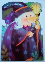 Large Vintage WITCH HALLOWEEN  Greeting Card-  Norcross - 7 X 11 inches