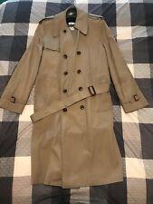 VINTAGE LONDON FOG MAINCOATS TRENCH COAT Mens 40 Long Lined Top 40L Beige Jacket