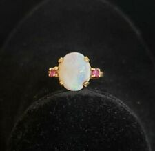 14k Vintage Gold Opal & Ruby Ring