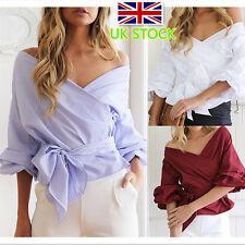 Women Off The Shoulder Blouse 3/4 Sleeve Wrap Top Shirt Waist-controlled T Shirt
