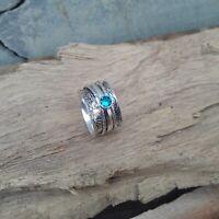 Blue Topaz Solid 925 Sterling Silver Spinner Meditation Statement Ring V878