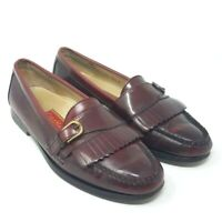 Cole Haan Mens Pinch Loafer Shoes Burgundy Kiltie Buckle Moc Toe Slip Ons 8.5 D