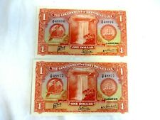 More details for 2 banknotes british guiana 1 dollar 1942  georgetown.  consecutive numbers  a26