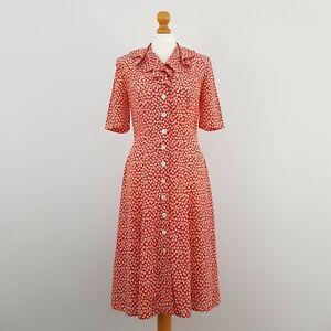Richards Womens Red & White Floral Short Sleeve Buttoned Vintage Tea Dress UK 10