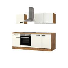 Küchenzeile Küchenblock Einbauküche Elektro-Geräte 210 cm creme matt beige