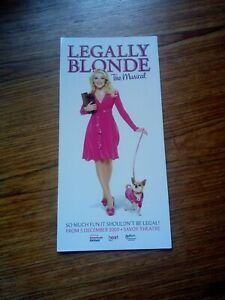 LEGALLY BLONDE THE MUSICAL / SHERIDAN SMITH Original Promotional Theatre Flyer