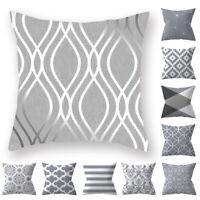 Silver Gray Cushion Cover Geometric Pillow Case Pillowcase Sofa Home Decor 45cm